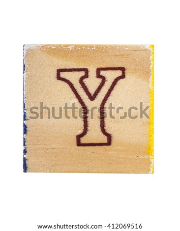 Wooden alphabet block with letter Y isolated on white