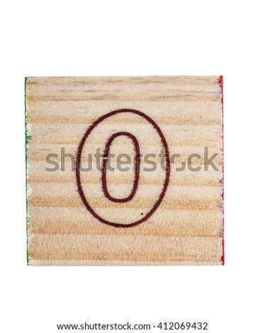 Wooden  alphabet  block with number 0 isolated on white