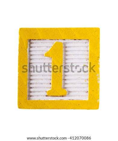 Wooden  alphabet block with  number 1 isolated on white