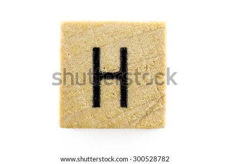 Wooden alphabet blocks with letters H (Isolated) - stock photo
