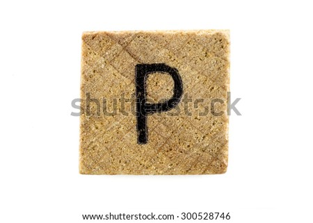 Wooden alphabet blocks with letters P (Isolated) - stock photo
