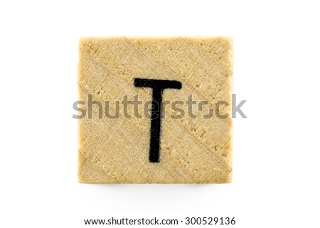 Wooden alphabet blocks with letters T (Isolated) - stock photo