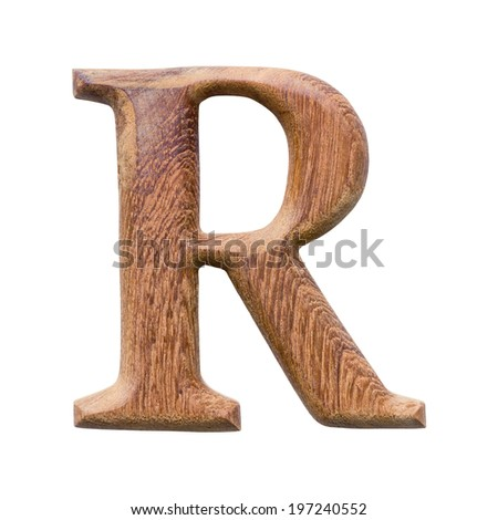 Wooden alphabet isolated on white background ,letter R - stock photo