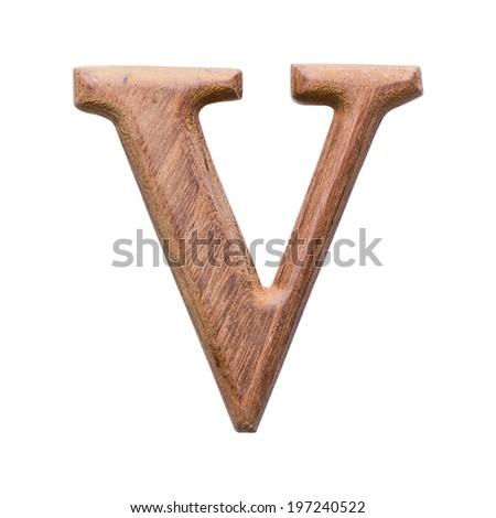 Wooden alphabet isolated on white background ,letter V - stock photo