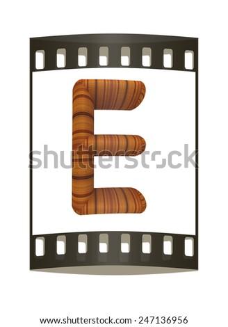 "Wooden Alphabet. Letter ""E"" on a white background. The film strip - stock photo"