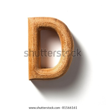 Wooden alphabet letter with drop shadow on white background, D - stock photo