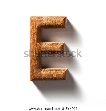 Wooden alphabet letter with drop shadow on white background, E - stock photo