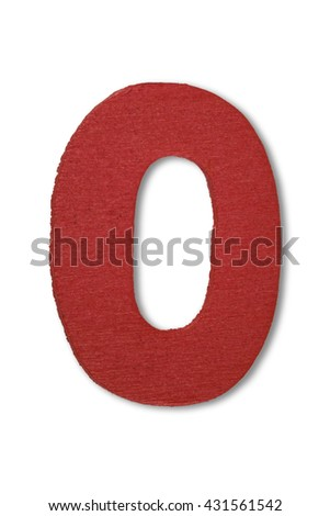 Wooden alphabet letter with drop shadow on white background, O - stock photo