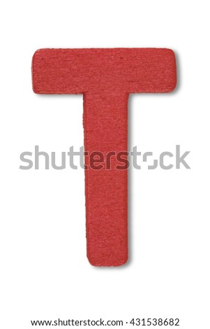 Wooden alphabet letter with drop shadow on white background, T - stock photo
