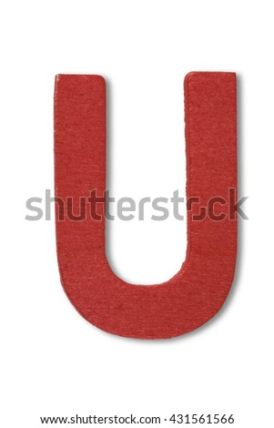 Wooden alphabet letter with drop shadow on white background, U - stock photo