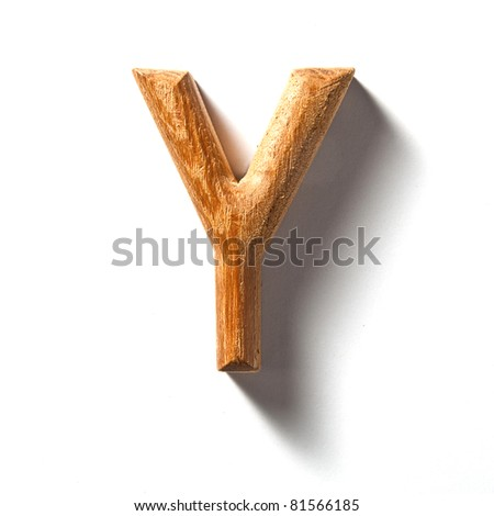 Wooden alphabet letter with drop shadow on white background, Y - stock photo