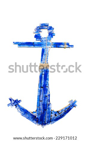 wooden anchor isolated on white