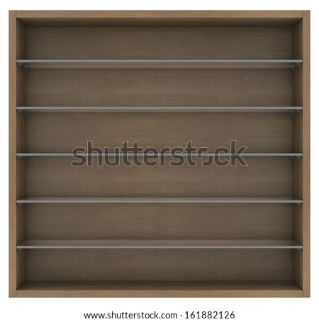 Wooden and glass shelves. Isolated render on a white background