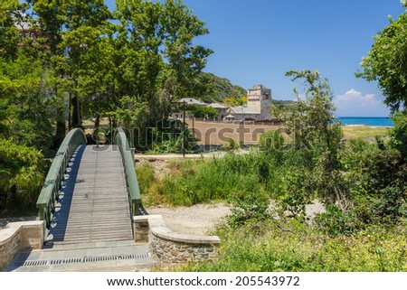 Wooden and metallic bridge leading to Iviron Monastery on Holy Mount Athos in Greece