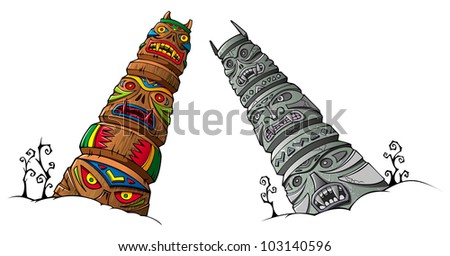 Wooden and stone scary idols (totems) of ancient clans and tribes, raster from vector illustration - stock photo