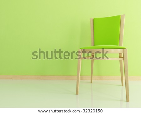 wooden and velvet chair against green wall - rendering