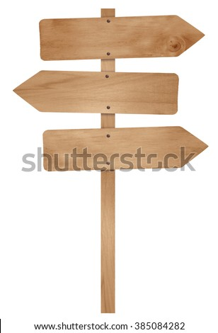 Wooden arrow sign post isolated on white