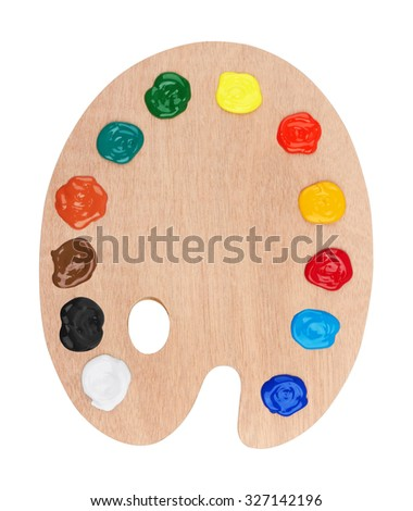 Wooden art palette with paints, isolated on white background - stock photo