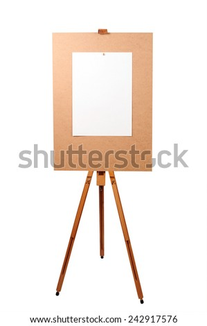 Wooden artist easel with blank paper isolated on white - stock photo