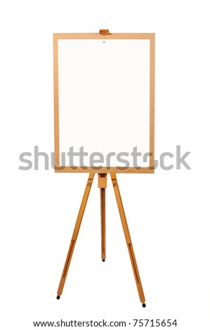 Wooden artist easel with blank paper isolated on white