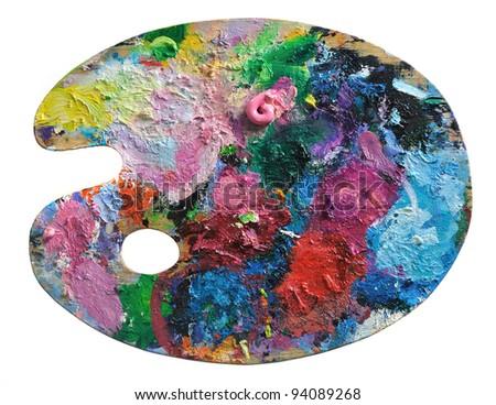 wooden artist's palette - stock photo