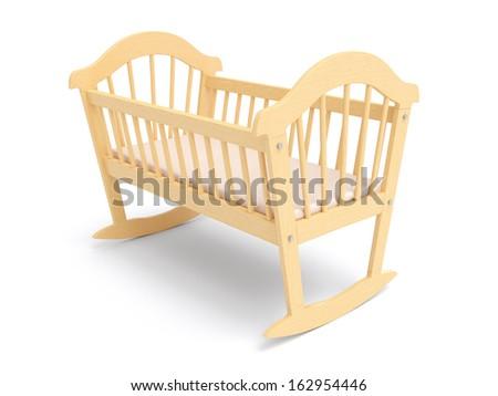 Wooden Baby Crib - stock photo