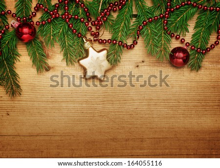 wooden background with Christmas border