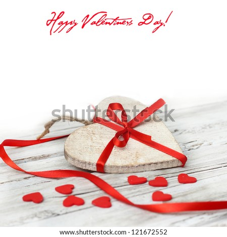 wooden background with heart - stock photo