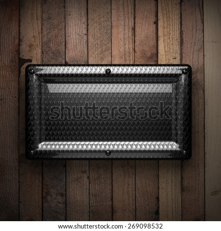 wooden background with metal element - stock photo