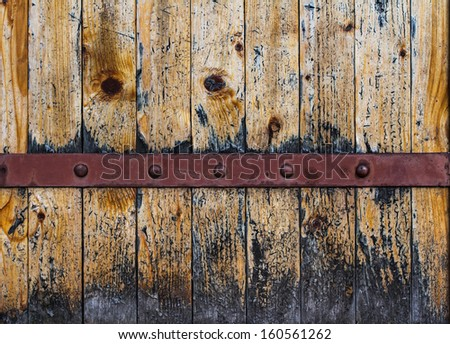 wooden background with metal line - stock photo