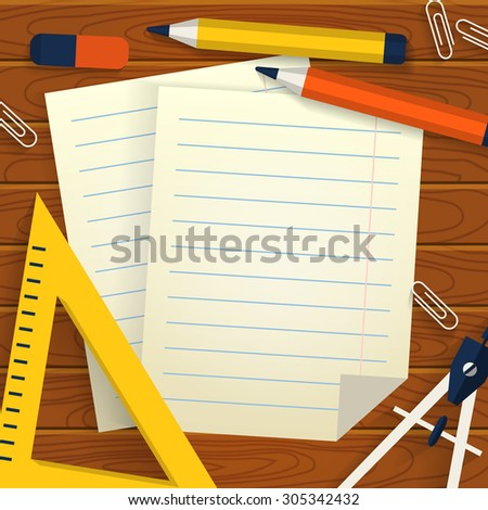 Wooden background with stationery, lined sheets of paper and place for  your text. School concept. Flat design. Raster illustration. - stock photo