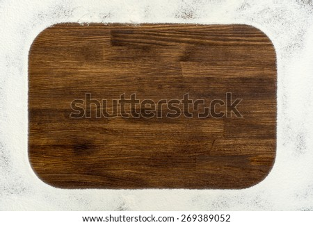 Wooden backgroung with flour frame  - stock photo