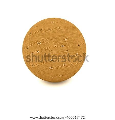 wooden ball - 3D illustration - stock photo