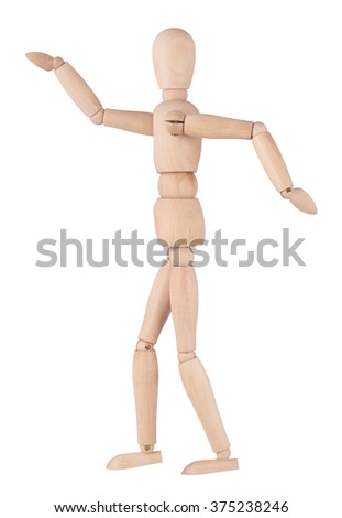 Wooden ball-jointed doll, isolated on white background moves in the dance - stock photo