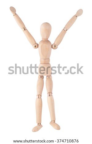 Wooden ball-jointed doll, isolated on white background standing with their hands up - stock photo