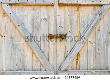 wooden barn door - stock photo