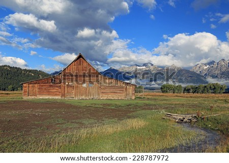 Wooden barn in the Tetons, Wyoming, USA. - stock photo