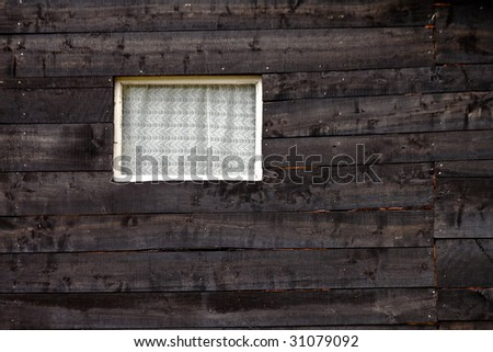 Wooden barn window - stock photo