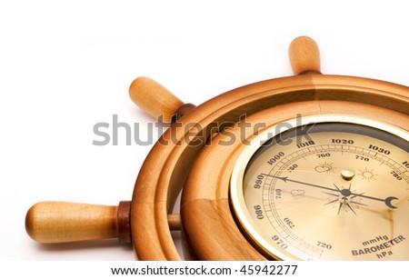 wooden barometer of handwheel - stock photo