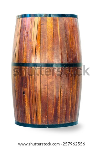 Wooden barrel for whisky isolated on white - stock photo