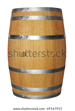Wooden barrel isolated on white background - stock photo