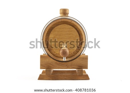 Wooden barrel on a white background - stock photo