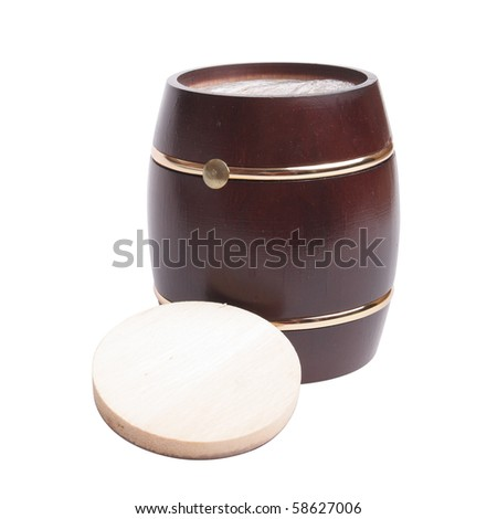 Wooden barrel on white background (isolated, clipping path) - stock photo
