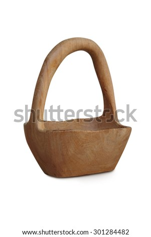 Wooden basket on white background  - stock photo