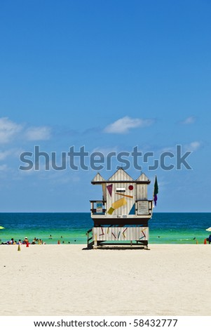 wooden bay watch huts in Art deco style at the beach