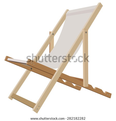 Wooden Beach Lounge Chair On A White Background