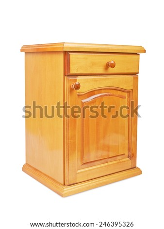 Wooden bedside nightstand isolated on a white background
