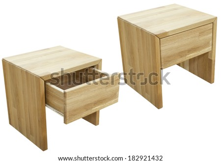 wooden bedside table isolated on white - stock photo
