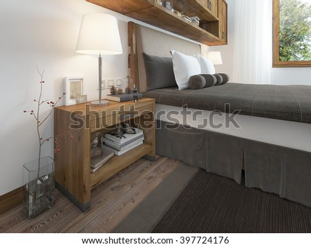 Wooden bedside table with a niche for the decor. Bedside table with lamp and books beside the bed. A bed in a rustic style. 3D render. - stock photo