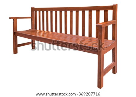 Wooden bench isolated on white background with clipping path.